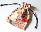 Kimono Silk Small Drawstring Pouch Bag Elegant Katazome