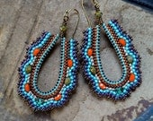 Rainbow Oval Hoops, brass teardrops with mauve, teal, olive and orange accents, seed bead earring