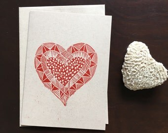 Tribal heart linocut card
