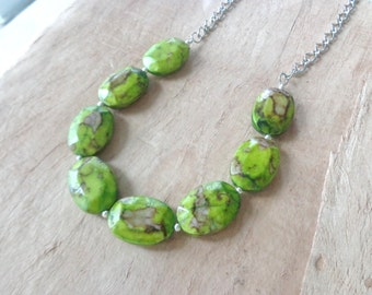 Green brown necklace chunky necklace longer style