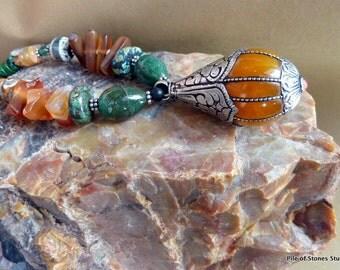 Large Ethnic Nepali Focal Necklace / Organic Stone Beads / Tribal Boho / World Citizen /*Arunima