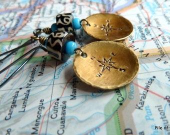African Batik Bone & Compass Rose Earrings Organic Ethnic Tribal Jewelry Colorful Trade Beads and Oxidized Silver Earrings *TCK Earrings