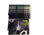 Pocket Wallet  Skaters and Black Green Plaid Card Holder Case Your Choice of One