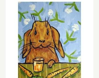 ON SALE Bunny Rabbit Drinking Carrot Juice Art Print