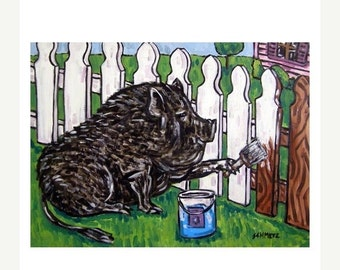 20 % off Pot Bellied Pig painting a Fence Art Print artwork