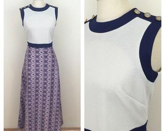 70s Sheri Kay Mod Graphic Gray Navy Maxi Dress, Size Medium to Large