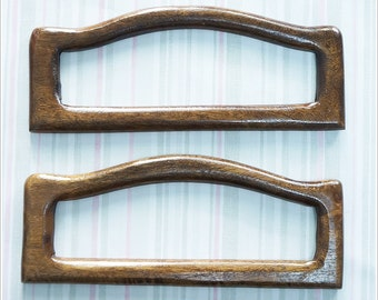 1 pair of wooden bag handles  Raise hands handles brown color bag supply