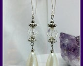 Long White Pearl Faceted Glass Crystal Earrings Wedding Earrings Sterling Silver Hand Crafted Ear Wires Boho Earrings Classic Design