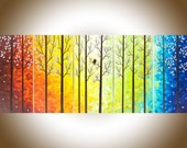 "Extra large wall art 60"" Contemporary Landscape painting Colorful canvas art Palette knife Impasto Tree Love Birds Painting ""Twilight II"""