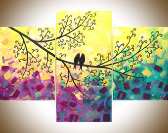Art painting, yellow purple wall art, Acrylic painting birds art decorative art gift for couple wedding gift canvas art by qiqigallery