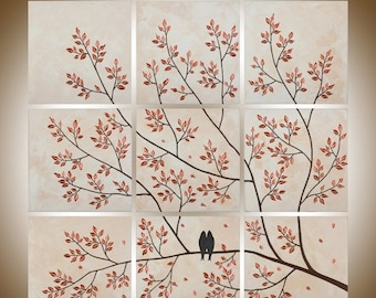 """36"""" Square art Birds acrylic painting wall decor wall art wall hangings multi panel Painting ready to ship """"Be With You"""" by QIQIGALLERY"""