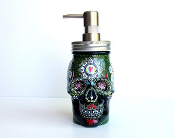 Painted Skull: Hand painted glass Skull shaped Soap Dispenser Black and green Sugar skull Painted jar Skull art