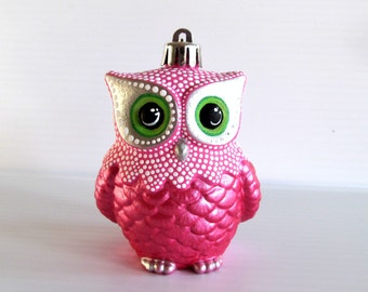 Pink Owl Ornament: Shatter Resistant Hand Painted plastic Owl Ornament.