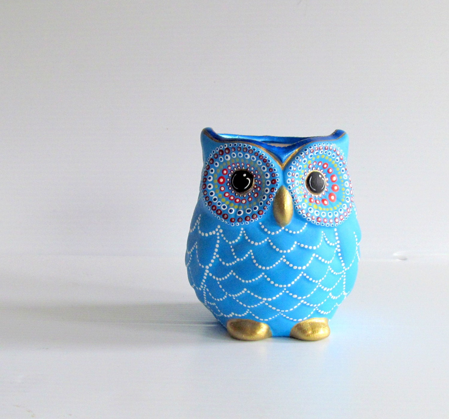 Blue Owl Vase Small Hand Painted Ceramic Owl Vase Or Pencil