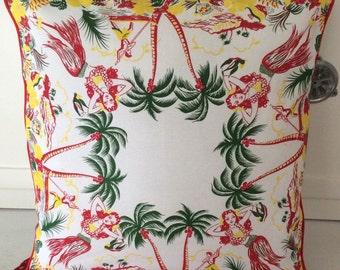 """Aloha Pillow Cover, 18"""" Retro Hawaii Pillow Cover, Retro Porch Pillow, Retro Hawaiian Home Decor, Hawaii Souvenir"""