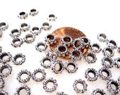 50% Off Beads, Metal Spacers, 50 Large Hole Spacer Beads Antique Silver Spacer Beads 3x8mm Large 3.23mm Hole MB1027 A16