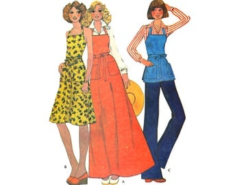 Vintage Sewing Pattern 1970s Apron Back Wrap Sundress Boho Tunic Top Flare Skirt Maxi Uncut Unused Sample Pattern Includes All Sizes S M L