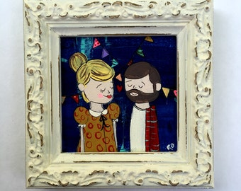 Lovers 3 x 3 Original Painting in Frame