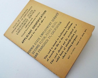 Vintage California State Employment Service Applicant Identification Card