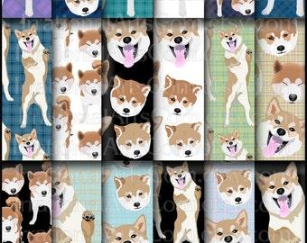 Shiba Inu set 1 digital scrapbooking papers wtih fun Shiba Inu dogs  {Instant Download}