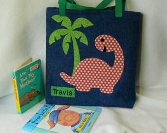 Dinosaur Tote Bag|Christmas Gift Bag|Personalized Tote Bag|Children's Book Bag|Preschool bag|Toddler bag|Kids Dinosaur Tote|Kindergarten Bag