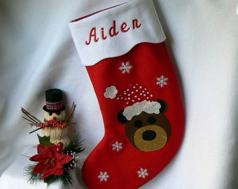 Personalized Christmas Stocking|Bear Christmas Stocking|Christmas Decor|Kids Personalized Christmas Stocking|Traditional Red Felt Stocking