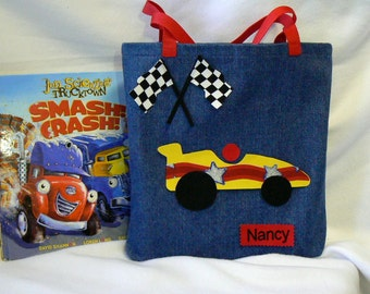 Personalized Tote Bag|Race Car Tote Bag|Kids Tote Bag|Boys Tote Bag|Kids Library Bag|Tote Bag Personalized|Gifts for Grand Kids|Gift Nephew