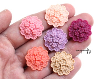 12pc SAMPLER resin cabochon flower bouquet / 20mm / 6 pairs / pink, coral, lilac, rose, chai, plum / resin flower cabochons / flatback