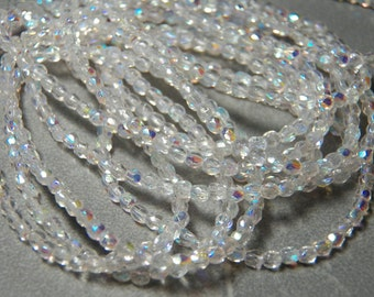 Clear Crystal AB 3mm Fire Polished Glass Czech Round Beads (50)