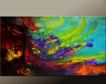 Abstract Canvas Art Painting Huge 72x48 Original Wall Art by Destiny Womack  dWo - Escaping the Dark - SALE