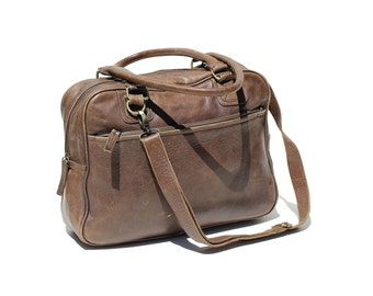 Men's Vintage Dark Brown Leather Bag / portfolio / Travel Duffel Bag / Overnight Bag