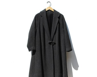 Vintage Black Wool Swing Coat
