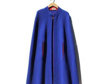 Vintage Sapphire Blue Knitting Cape with Red Trim
