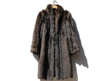 Vintage dark Brown Beaver Fur Coat