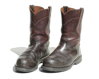 Vintage Rural Earth Brown Leather Pull on Steel Toe Boots / size 9.5