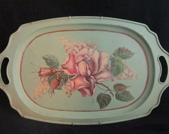 Vintage Hand Painted Tin Tray - Vintage Painted Rose - Rose & Teal Tin Tray - Shabby Chic Tray - Romantic Tray - French Cottage Style Tray