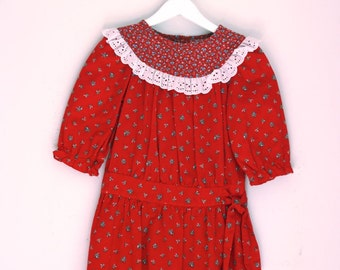 Vintage girls dress red calico Eber girl size 4T holiday outfit