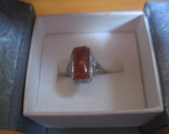 Antique  Rhodium Plated Art Deco Filigree Carnelian Ring Size 7