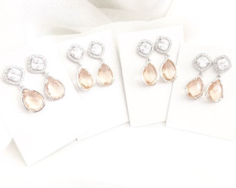 Blush Earrings, Peach Glass Earrings with Cubic Zirconia Rhinestone Ear wires, Peach Bridesmaid Jewelry, Bridal Part Earrings blush
