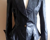 Avant Guarde 80's Black Leather Jacket with Peplun Waist and Brass Accents