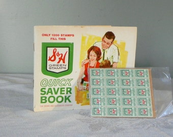 Vintage green stamps booklet with extra stamps - FREE SHIP