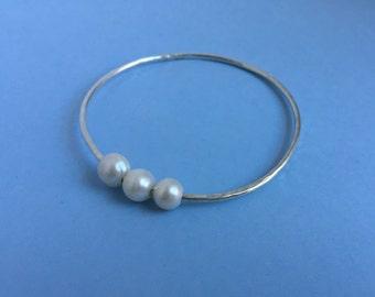Triple Pearl Silver Bangle