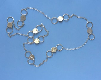 Hammered Silver Link and Disc Chain Necklace