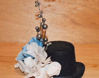 Steam Punk Mini Top Hat with Flowers and Clock Accents