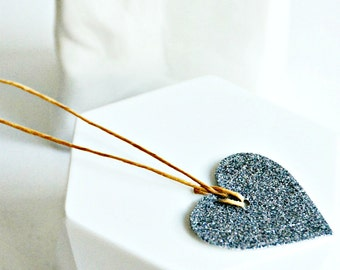 Grey Glitter Heart Tags {10} Gift Labels | Wedding Engagement Favors | Valentine Day