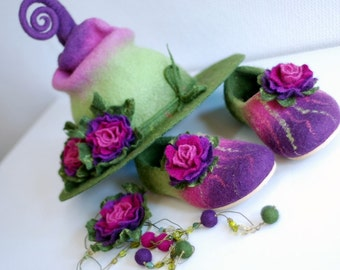Adorable witch hat with flowers and shoes  with rubber soles  Fantasy costume- CUSTOM MADE set in custom colors