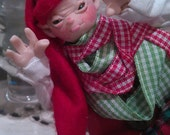 Naughty Elf posable miniature art doll by moninesfaeries