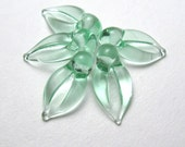 LEAF BEADS Handmade Lampwork in Pale Emerald Glass jewelry supplies by Serena Smith sra