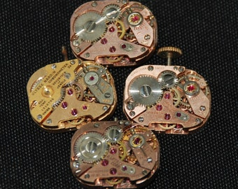 Vintage Antique Small Pink gold rounded square Watch Movements Steampunk Altered Art CD 59