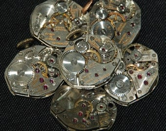 Vintage Watch Movements Parts Steampunk Altered Art Assemblage CD 71